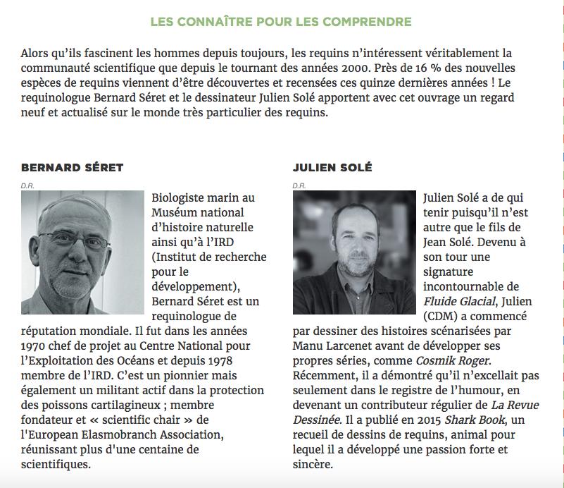 """Les auteurs de la BD : le """"requinologue"""" B. Séret et le dessinateur J. Solé"""